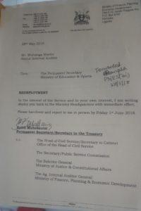 Muhakanizi's letter recalling Martin Muhanga back for redeployment