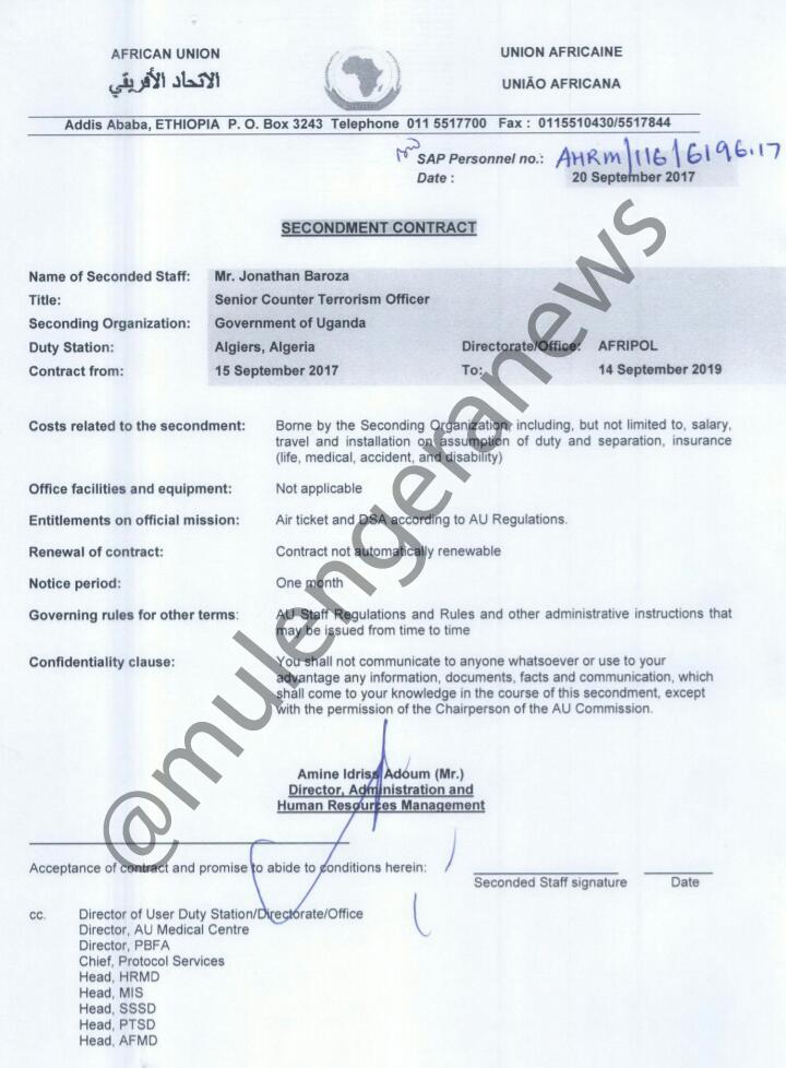 Afripol document capturing Baroza's employment details in Algieria